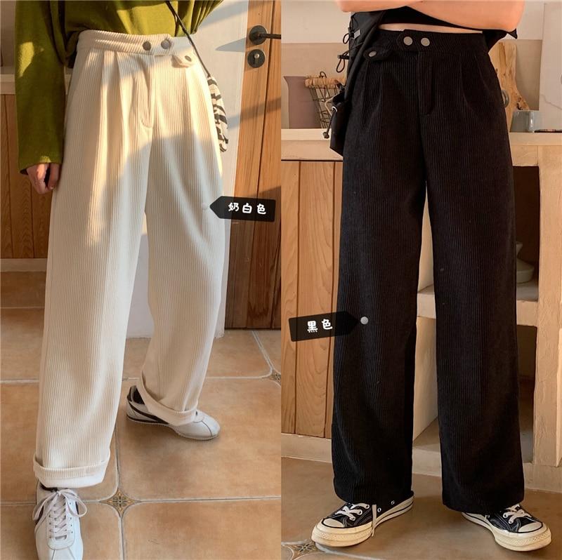 H31187c969a1d4fc58e2c3ec1acddfdcfE - Autumn / Winter Korean Corduroy Loose Solid Pants