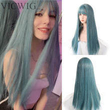 VICWIG Long Cosplay Wig With Bangs Light Blue Yellow Purple Synthetic Straight Hair Heat-resistant Rose Net Wigs For Women