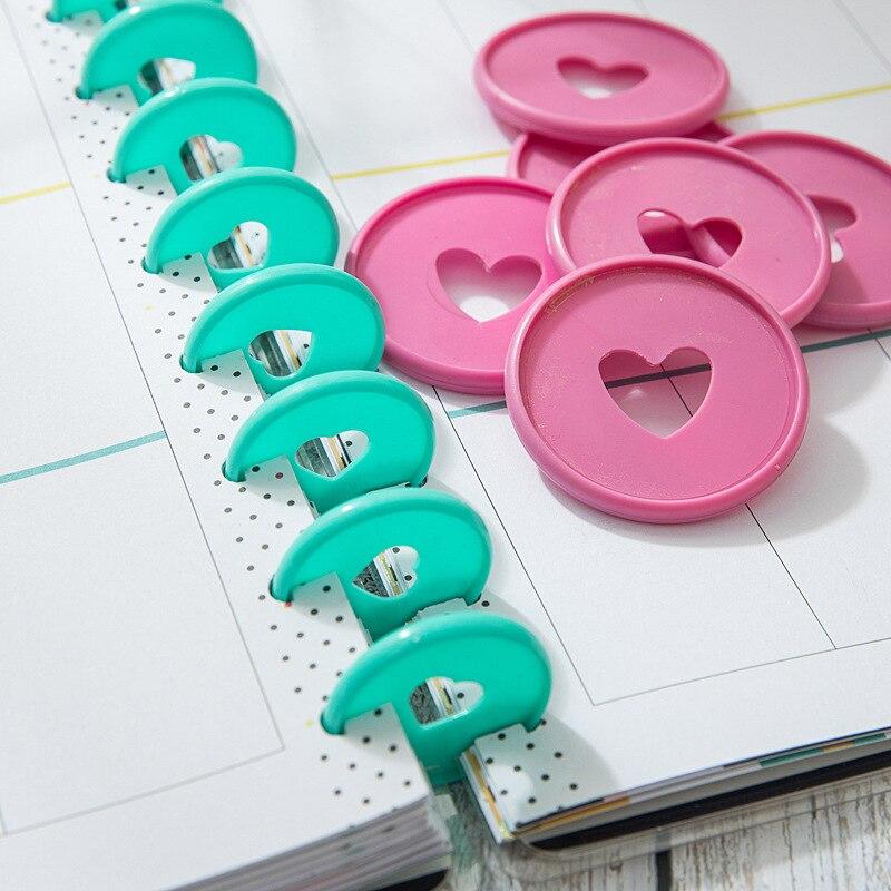 30PCS 35mm Colorful Heart Binder Rings Mushroom Hole Loose Leaf Ring Round Binding Plastic Disc Buckle Hoop DIY Binder Notebook 4