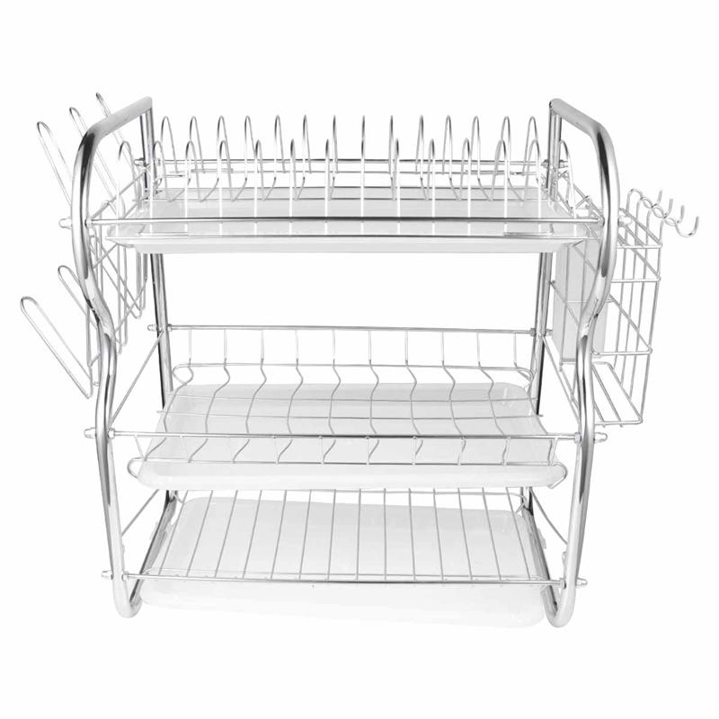 3 Layer Dish Drainer Iron Art Kitchen Cutlery Drain Rack Utensils Storage Organizer Rustproof Dishes Plates Organization Shelf