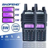 2 pçs baofeng UV-82 de longa distância 8 w walkie talkie duplo ptt portátil uv 82 rádio em dois sentidos rádio fm ham hf transceptor uv82 cb rádio