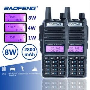 Image 1 - 2pcs Baofeng UV 82 Long Range 8W Walkie Talkie Dual PTT Portable UV 82 Two Way Radio FM Radio Ham Hf Transceiver UV82 CB Radio