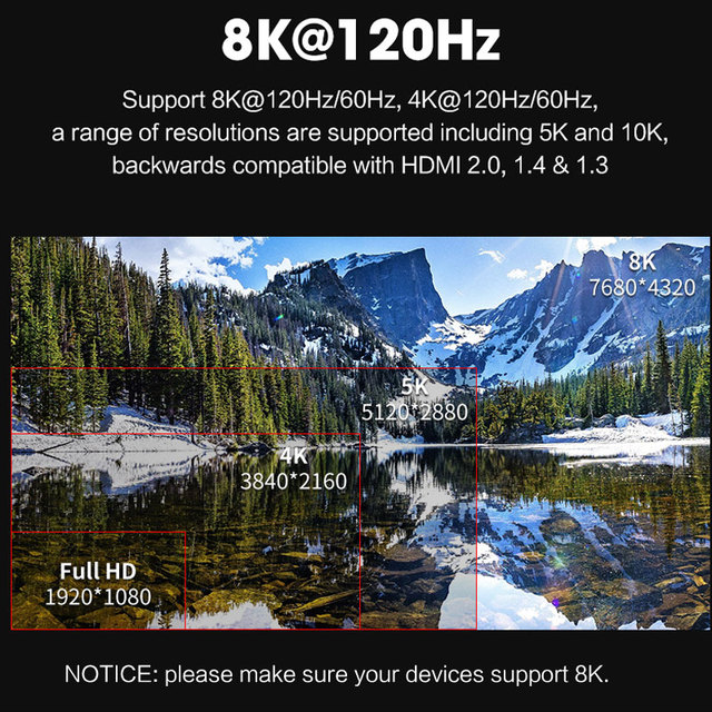 MOSHOU 8K 60Hz 4K 120Hz HDMI 2.1 Cables 48Gbps ARC HDR 3D HiFi Extremely Thin Video Cord for Switch lite PS4