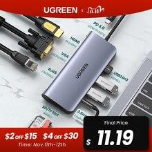 UGREEN Adaptador USB HUB C HDMI 10 en 1 a USB 3,0, accesorio para MacBook Pro, USB C, tipo C, 3,1