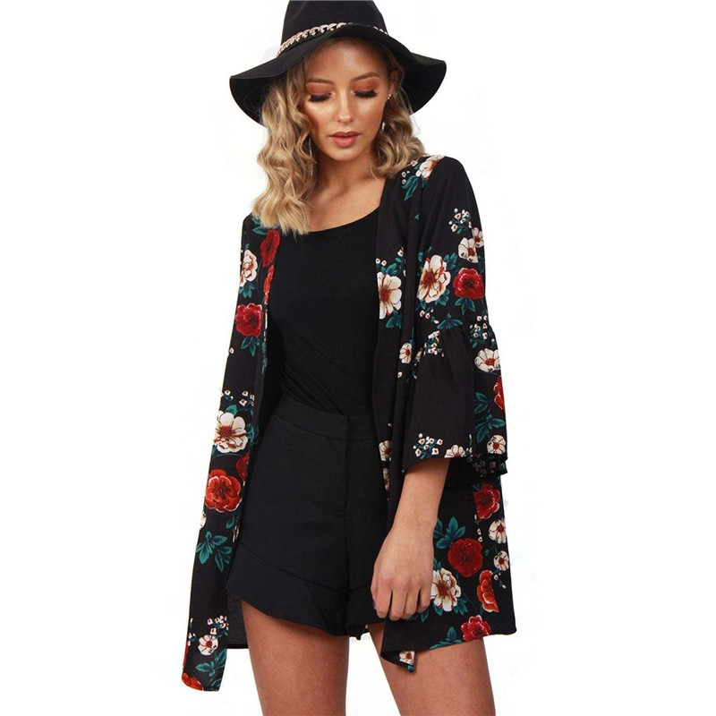 Sexy Women Floral Chiffon Loose Blouse 2018 Long Cardigan Women Boho Coat Blouse Summer Beach Cover Up Top Casual Ladies Tops