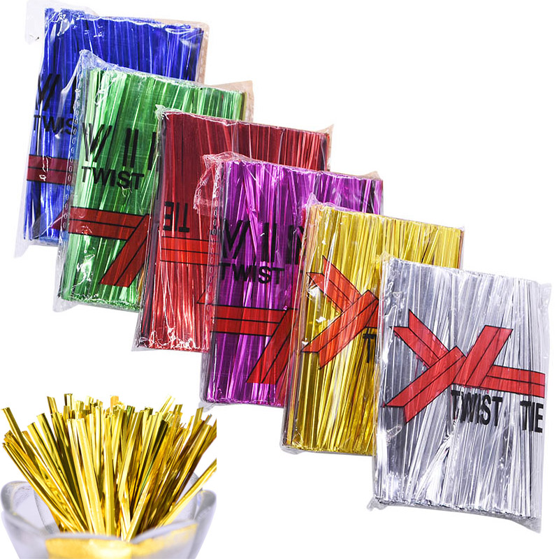 800pcs 8-12cm Metallic Twist Ties Sealing Binding Wire For Plastic Candy Cookie Cake Bag Wedding Birthday Gifts Packaging Supply