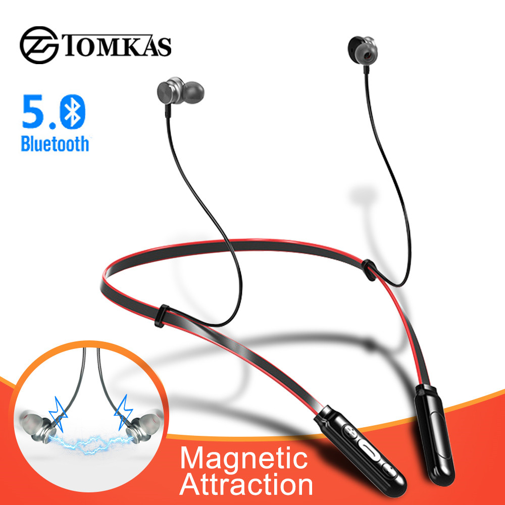 TOMKAS Wireless Headphones Bluetooth Earphone IPX5 Waterproof Neckband Earbuds Handsfree Sport Stereo Headset for Phone with Mic-in Bluetooth Earphones & Headphones from Consumer Electronics on AliExpress