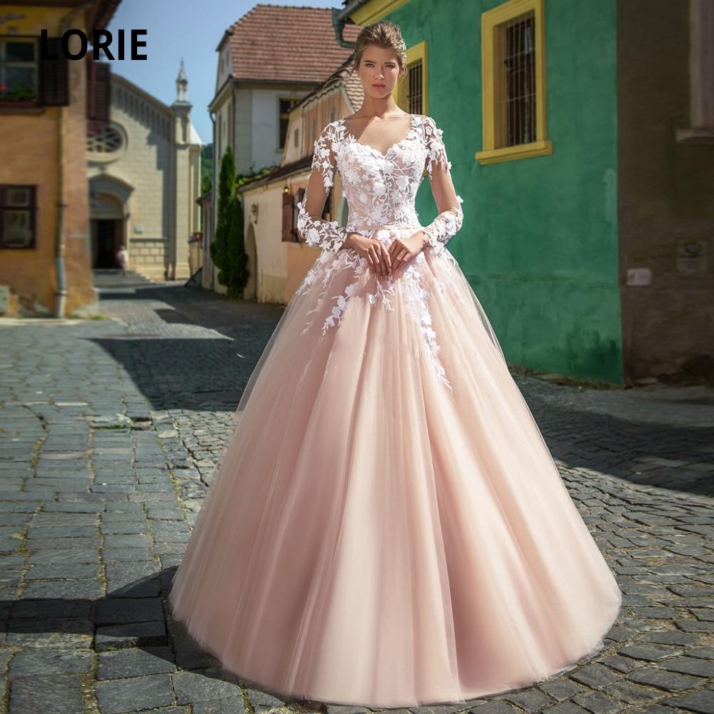 LORIE Blush Wedding Dresses Lace Long Sleeves A Line Vestido De Noiva Scoop Appliques Bridal Gowns Button Illusion Wedding Gown