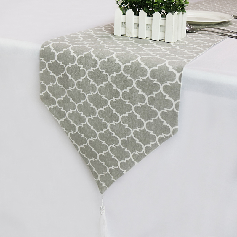 Gray Vintage Linen Table Runner Classic Table Cloth With Tassels Table Runners Modern Home Hotel Party Table Decor