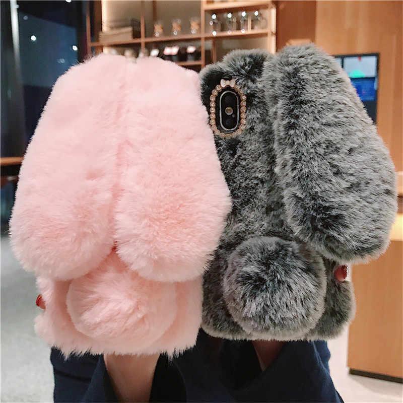 Peluche Del Leopardo Caldo Dell'orecchio di Coniglio Furry Copertura Per Samsung galaxy A5 A7 A3 2016 A5 2017 J5 J3 J7 2016 2017 J3 J5 Pro A6 A8 Più Il Caso di