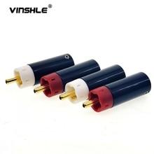 Hoge Kwaliteit Hifi Diy Ster Lijn Verzilverd/Vergulde Tellurium Koper Rca Plug Connector 2Pairs 4Pcs