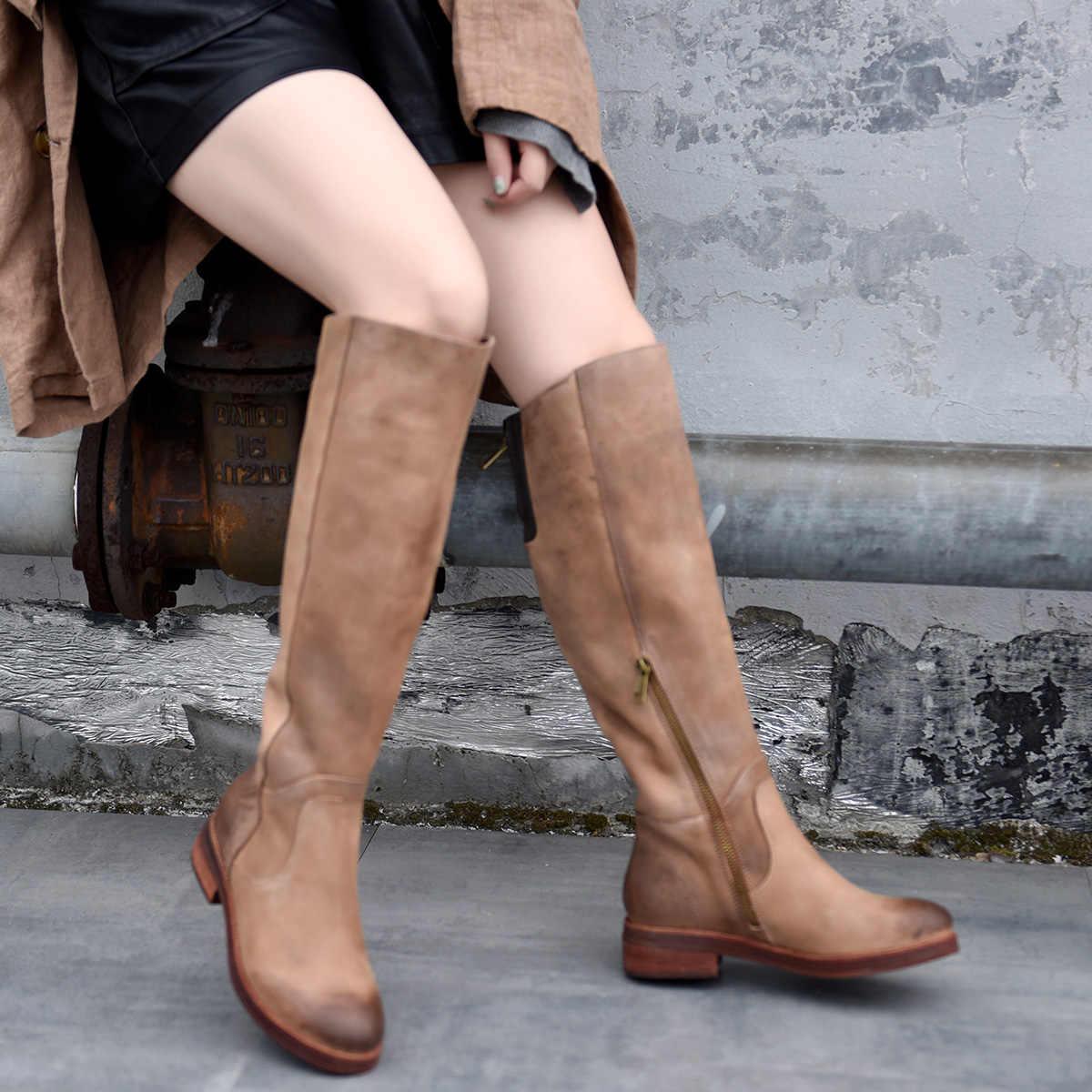 Artmu Original Retro Echtem Leder Dicken Heels Knie Hohe Stiefel Casual Ritter Stiefel Handgemachte 2019 Neue frauen Stiefel 701 -2