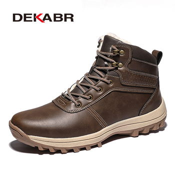 цена на DEKABR 2020 Brand Winter Genuine Leather Ankle Snow Men Boots With Fur Plush Warm Men Casual Boots High Quality Waterproof Boots