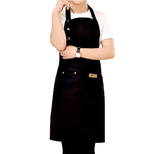 Pure Color Adjustable Shoulder Strap Kitchen Apron Waterproof And Antifouling Bib For Kitchen Baking Barbecue Cooking 2
