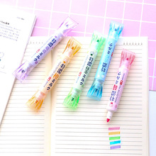 Candy color double-head highlighter student stationery marker pen