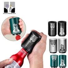Novelty pattern magnetic automatic beer bottle opener stainless steel wine opener portable bar tool push beer bottle opener