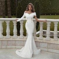 BacklakeGirls Solid Color Double Row Buckle Full Dress Off Shoulder Mermaid Banquet Suit dress Evening Dress Vestido Largo