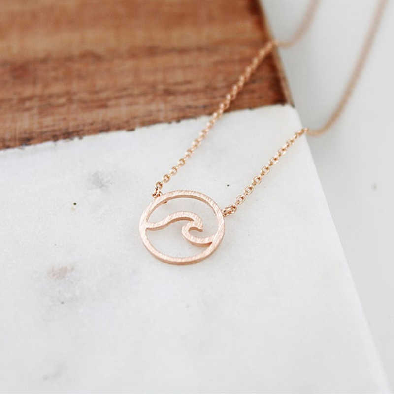 Gold Ocean Wave Pendants Necklaces For Women Beach Nautical Surfing Jewelry Stainless Steel Circle Collares Largos De Moda