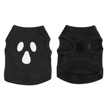 Pet Spring Summer Shirt Halloween Dog T-shirt Dog Costume Halloween Cotton Black With Funny Face Printed Patter For Small Dogs