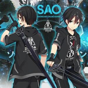 Image 1 - Аниме Sword Art Online Косплей SAO костюмы пальто с капюшоном, с длинным рукавом, футболка повседневные штаны Haori пара повседневной моды костюм