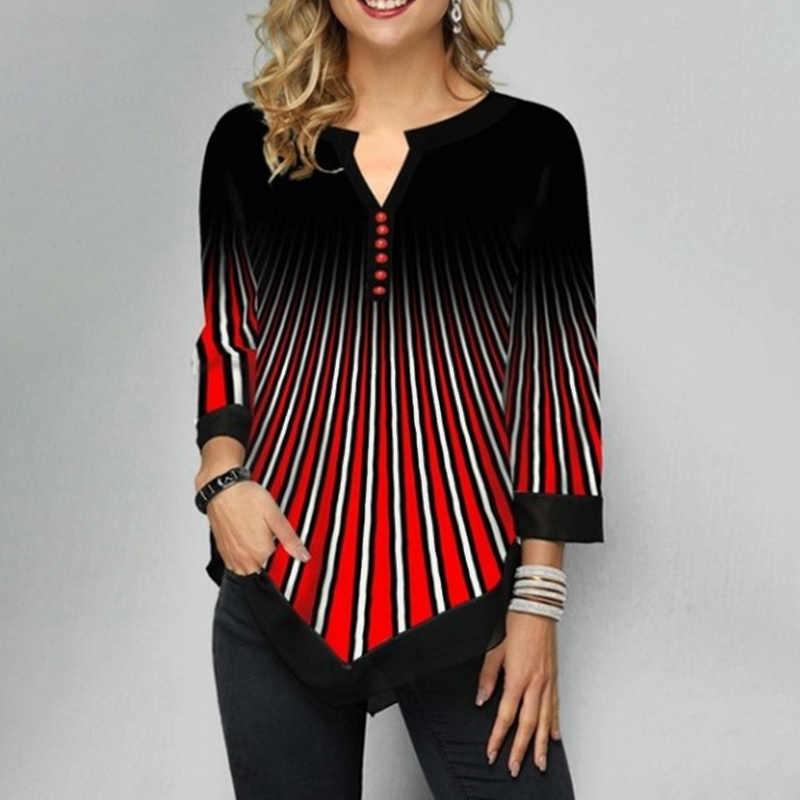 Artı boyutu 5XL çizgili bluzlar kadın tunikler 3/4 kollu baskı düzensiz bayan bluz 2020 İlkbahar yaz Casual kadın tunik üst