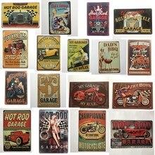 [Luckyaboy] Vintage Hot Rod Garage Car Dads BBQ Motorcycle Metal Tin Signs Wall Art Painting Poster Bar Cafe Decor