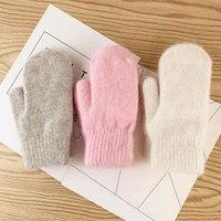 Einfarbig Winter Handschuhe Verdicken Gestrickte Volle Finger Weiche Warme Frauen Handschuhe Doppel Schicht Außen Kurze Kaninchen Pelz Fäustlinge