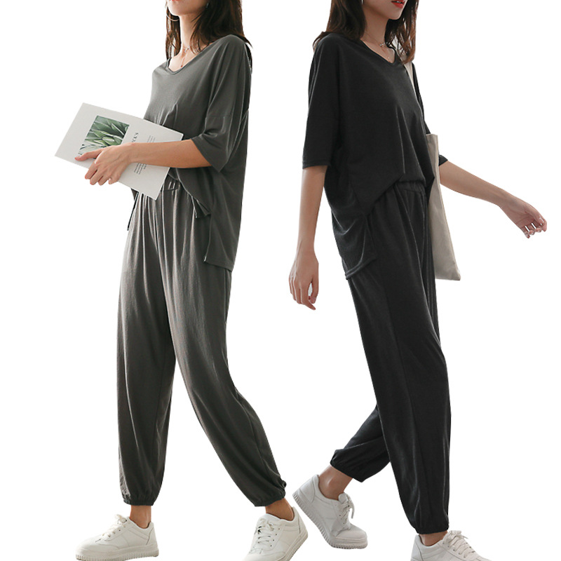 Casual Loose Pants Two WOMEN'S Suit Summer 2019 New Style Korean-style Loose And Plus-sized Fashion V-neck Short-Sleeved Shirt T
