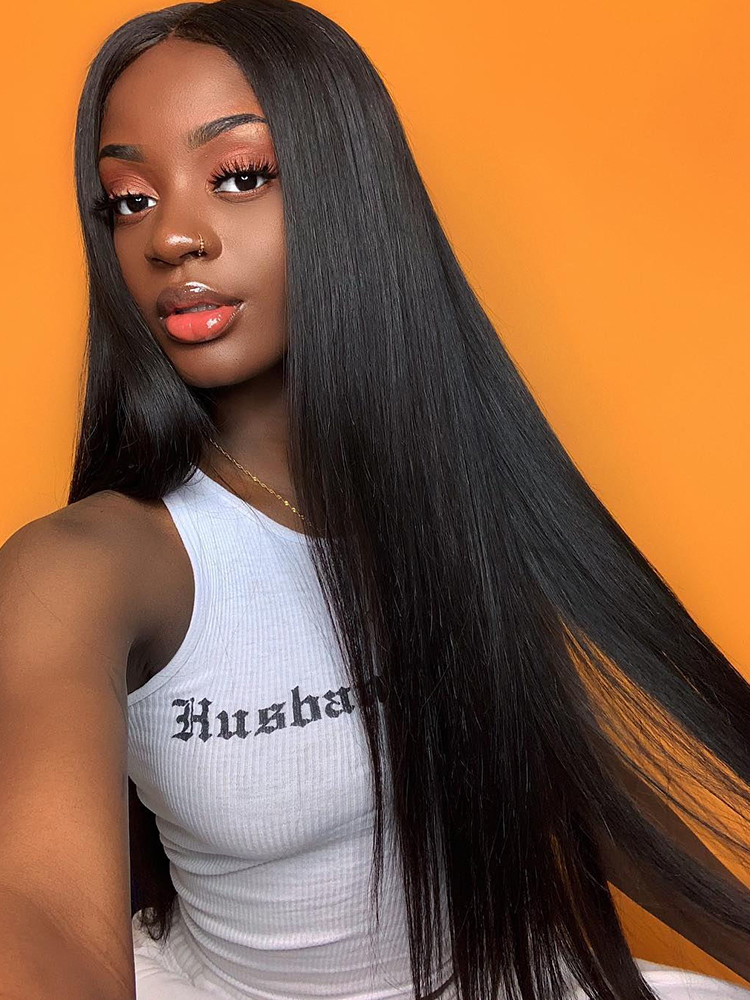 Wig Frontal-Wig Human-Hair-Wigs Lace Closure Lace-Front Ali Annabelle Straight 13x6 Brazilian