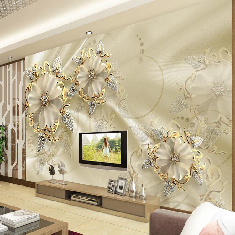 5D Bump Stereo Mural TV Backdrop Wallpaper Jewelry Crystal Mural Bedroom Seamless Mural Flower Wallpaper