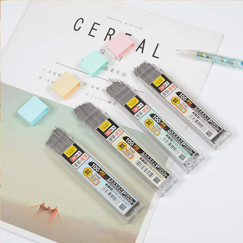 100 pièces/boîte crayon mécanique plomb 0.5mm/0.7mm 2B crayon tige automatique crayon plomb recharge école Art croquis dessin fournitures