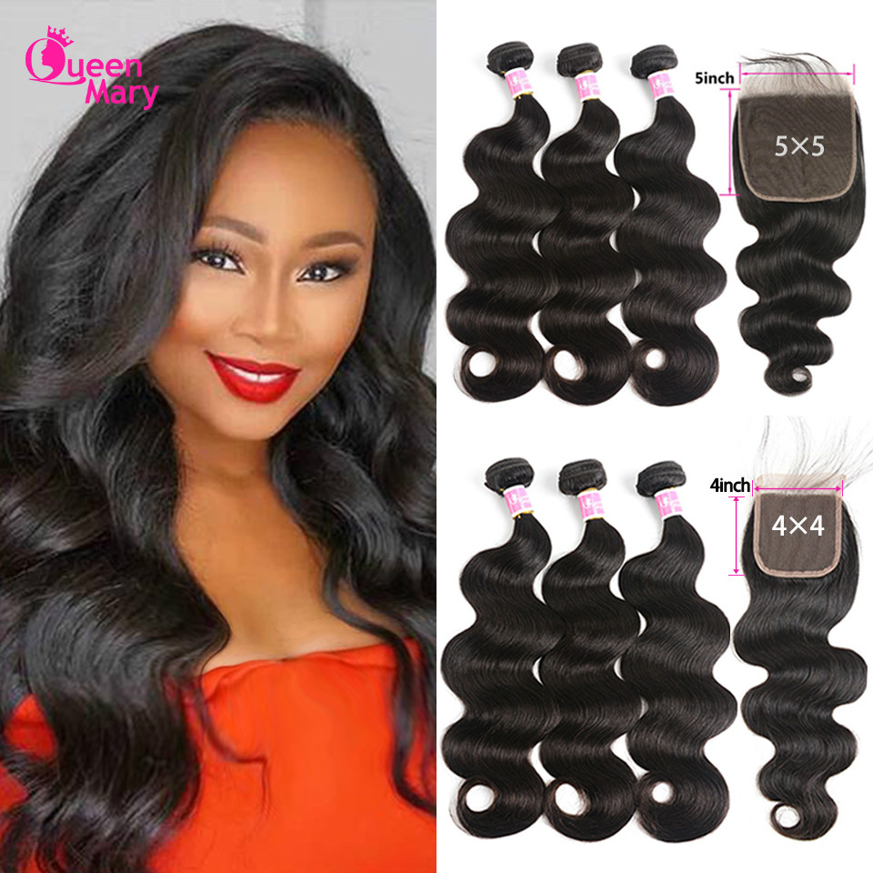 Peruvian Hair Bundles With Closure Body Wave Bundles With Closure 3 Bundles With Closure Queen Mary Non Remy 100% Human Hair