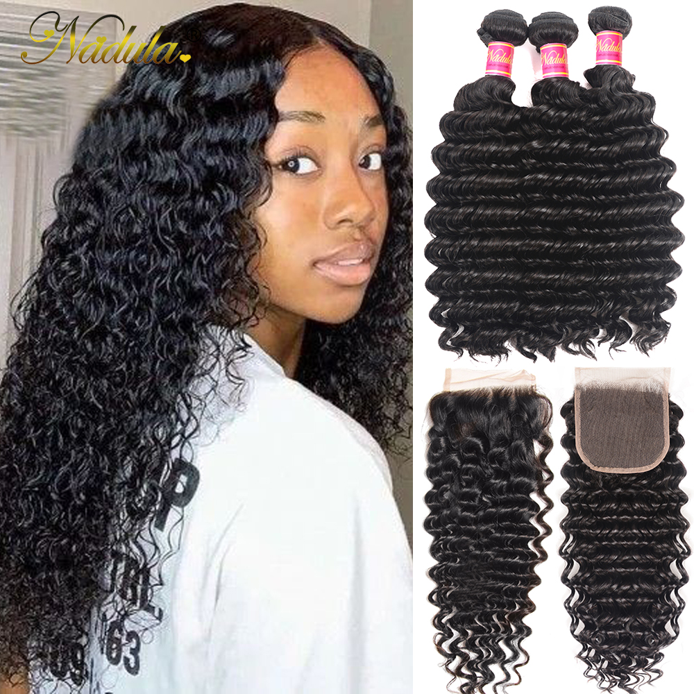 Nadula Deep Wave Bundles with Closure 4x4 Lace Closure Pre plucked With Baby Hair 12-26inch  Bundles with Closur 1