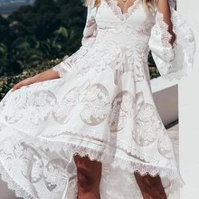 -Dresses V-Neck Sexy Vintage Women 40 for Lace Stitching Flared-Sleeve Dovetail Dovetail