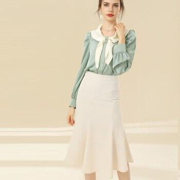 Skirt Spring 2021 Women Fishtail Skirt Stylish Elegant Package Hip Skirt High Quality Boutique Women Skirts Plus Size S-XL L1241 retro style women s lace splicing fishtail skirt