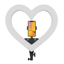 RL-18 Dimmable Photography Illuminazione 5500K Ha Condotto La Luce a Forma di Cuore con Il Treppiedi Del Basamento Grande Sacchetto di Anello Lampada per La Macchina Fotografica telefono Foto Vide