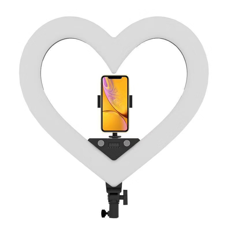 RL-18 Dimmable Photography Lighting 5500K LED Heart-shaped Light With Tripod Stand Big Bag Ring Lamp For Camera Phone Photo Vide