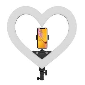 RL-18 regulable iluminación de fotografía 5500K LED luz en forma de corazón con soporte de trípode bolsa grande anillo lámpara para cámara teléfono foto Vide