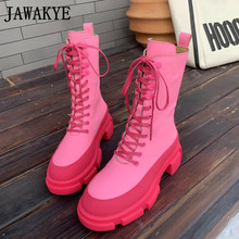 Fashion Boots Platform Pink Women's Flat Ankle Round-Toe Girl's Mujer