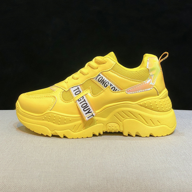 2020 Women Platform Sneakers INS Fashion Mesh Woman Vulcanized Shoes Tenis Female Thick Sole Yellow Running Casual Shoes Size 41 1