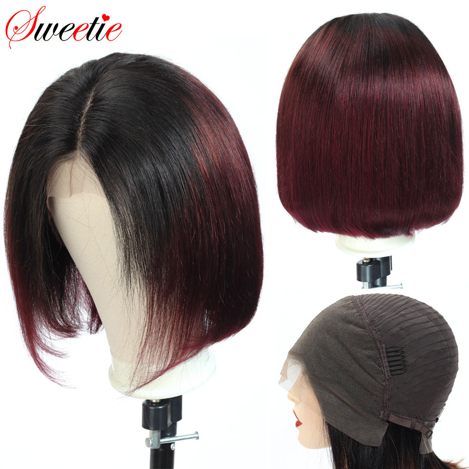 Sweetie Hair Straight Bob 13x4 Lace Front Wig 1b/99J Red Ombre Human Hair Wigs For Black Women Remy Colored Lace Front Wigs