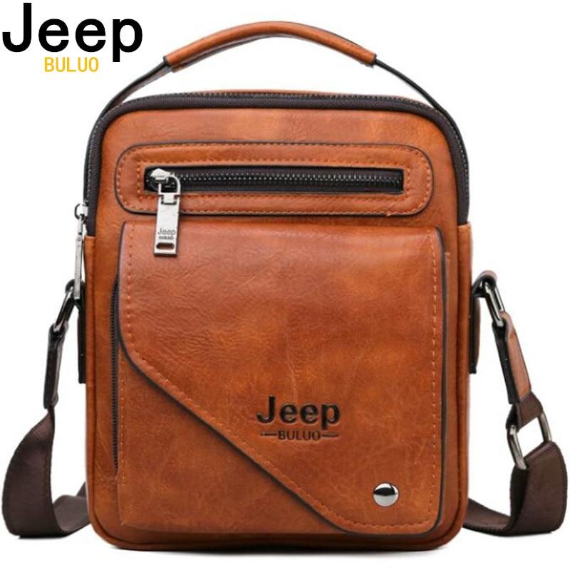 JEEP BULUO Men Bag Famous Designer Men Shoulder Messenger Bags Split Leather Crossbody Tote Men Fashion Business High Quality