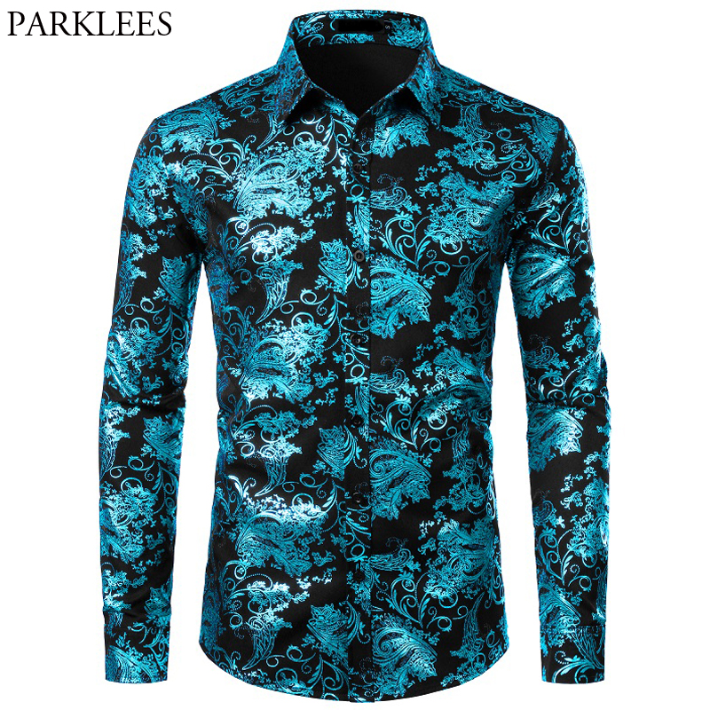 Floral Bronzing Men Shirt Luxury Shiny Paisley Flower Mens Shirts Fashion Casual Mens Party Shirts Dance Prom Men Camisas Hombre