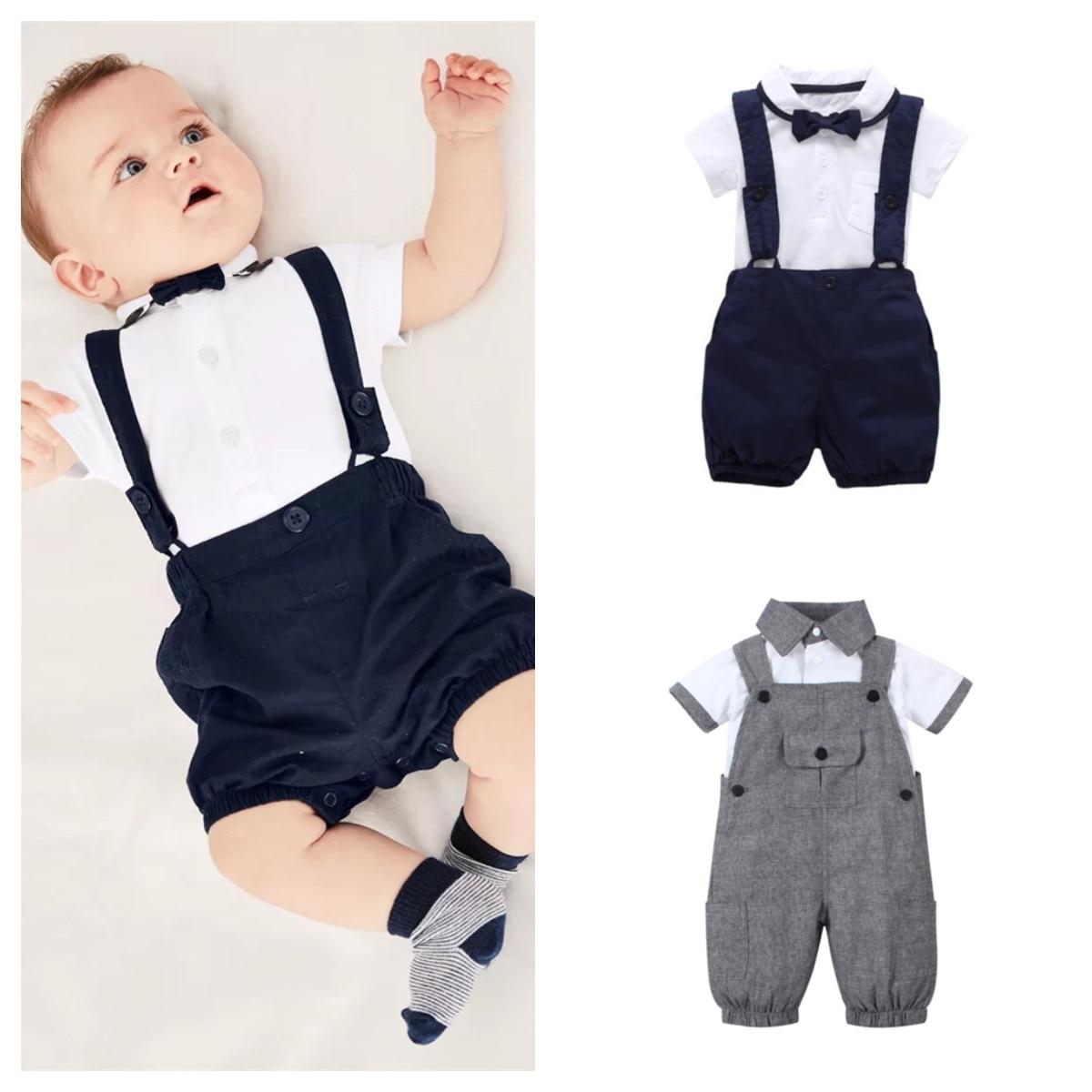 Одежда для маленьких мальчиков, джентльменская хлопковая футболка с коротким рукавом и комбинезоны, Одежда для новорожденных, летняя одежд...
