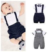 Bebê infantil roupas do menino cavalheiro algodão manga curta t camisa e macacão recém-nascidos roupas para roupas de verão