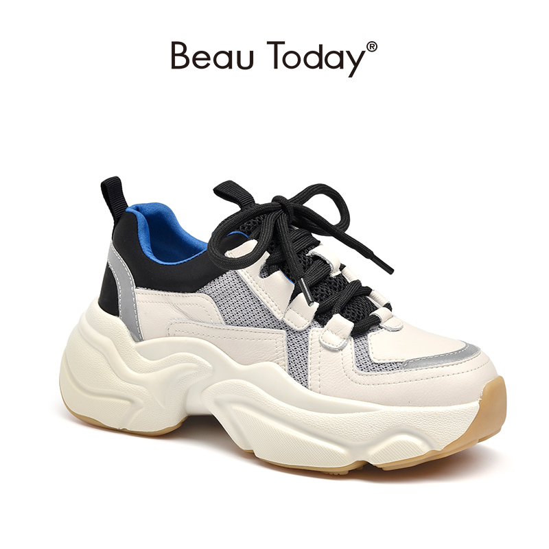 BeauToday Chunky Sneakers Women Genuine Cow Leather Nylon Mesh Mixed Colors Lac-Up Retro Platform Shoes Handmade 2932410