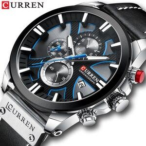 Image 1 - CURREN Uhr Chronograph Sport Herren Uhren Quarz Uhr Leder Männlichen Armbanduhr Relogio Masculino Mode Geschenk für Männer