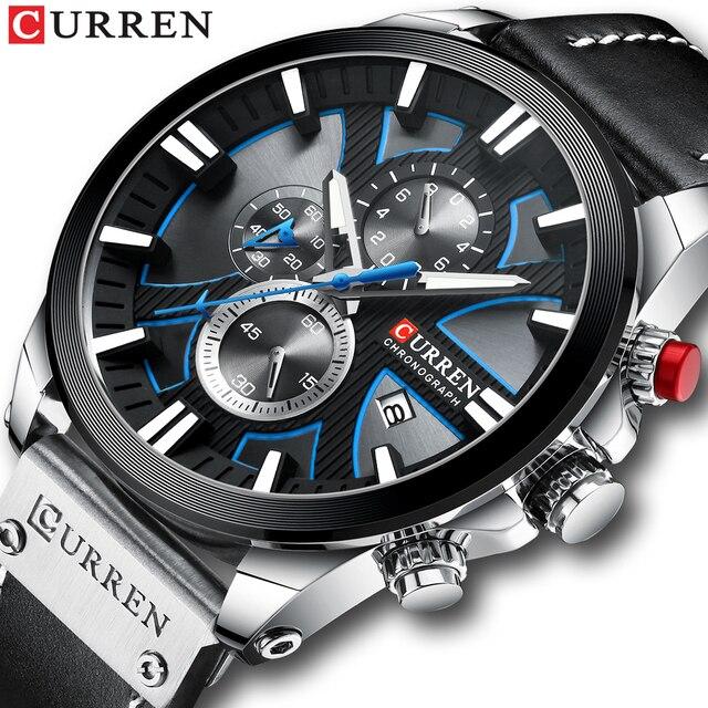 CURREN Uhr Chronograph Sport Herren Uhren Quarz Uhr Leder Männlichen Armbanduhr Relogio Masculino Mode Geschenk für Männer