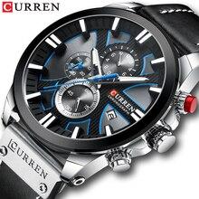 CURREN İzle Chronograph spor Mens saatler kuvars saat deri erkek kol saati Relogio Masculino moda hediye erkekler için