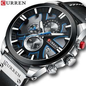 Image 1 - CURREN İzle Chronograph spor Mens saatler kuvars saat deri erkek kol saati Relogio Masculino moda hediye erkekler için